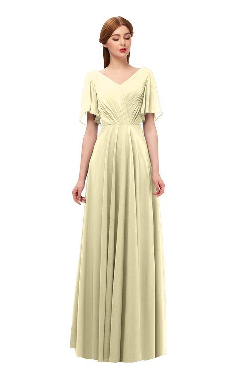 ColsBM Storm Anise Flower Bridesmaid Dresses Lace up V-neck Short Sleeve Floor Length A-line Glamorous