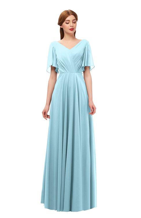 ColsBM Storm Aqua Bridesmaid Dresses Lace up V-neck Short Sleeve Floor Length A-line Glamorous