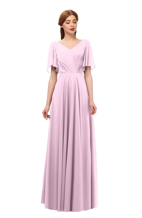 ColsBM Storm Baby Pink Bridesmaid Dresses Lace up V-neck Short Sleeve Floor Length A-line Glamorous