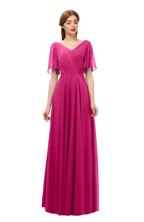 ColsBM Storm Beetroot Purple Bridesmaid Dresses Lace up V-neck Short Sleeve Floor Length A-line Glamorous