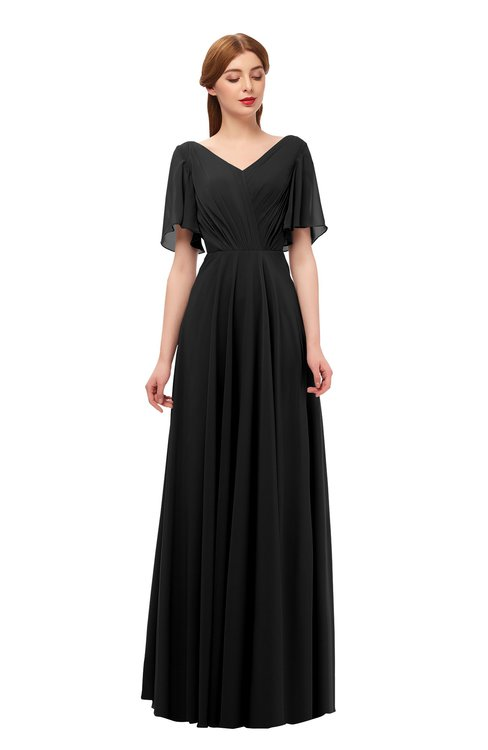 ColsBM Storm Black Bridesmaid Dresses Lace up V-neck Short Sleeve Floor Length A-line Glamorous