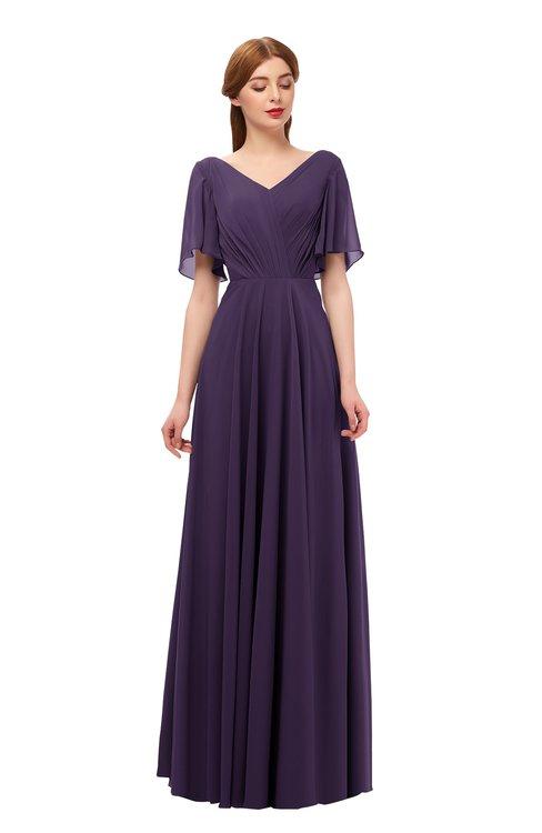 ColsBM Storm Blackberry Cordial Bridesmaid Dresses Lace up V-neck Short Sleeve Floor Length A-line Glamorous