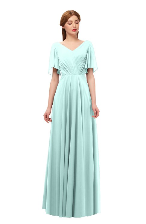 ColsBM Storm Blue Glass Bridesmaid Dresses Lace up V-neck Short Sleeve Floor Length A-line Glamorous