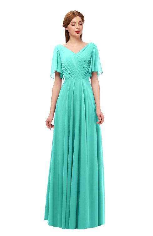 ColsBM Storm Blue Turquoise Bridesmaid Dresses Lace up V-neck Short Sleeve Floor Length A-line Glamorous