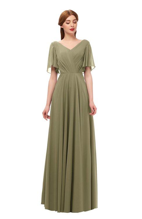 ColsBM Storm Boa Bridesmaid Dresses Lace up V-neck Short Sleeve Floor Length A-line Glamorous