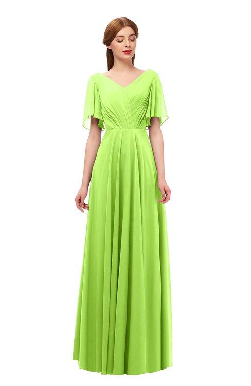 ColsBM Storm Bright Green Bridesmaid Dresses Lace up V-neck Short Sleeve Floor Length A-line Glamorous
