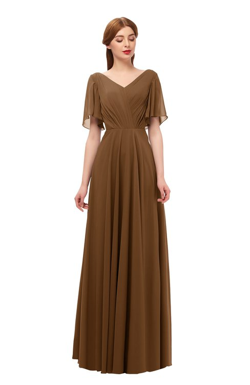 ColsBM Storm Brown Bridesmaid Dresses Lace up V-neck Short Sleeve Floor Length A-line Glamorous