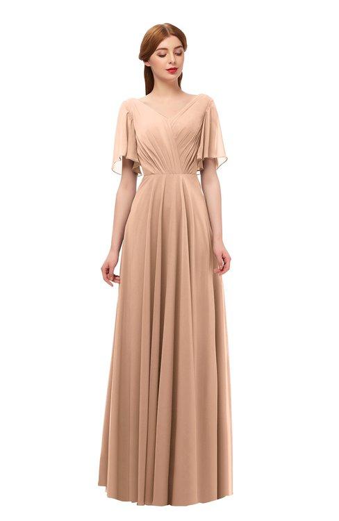 ColsBM Storm Burnt Orange Bridesmaid Dresses Lace up V-neck Short Sleeve Floor Length A-line Glamorous
