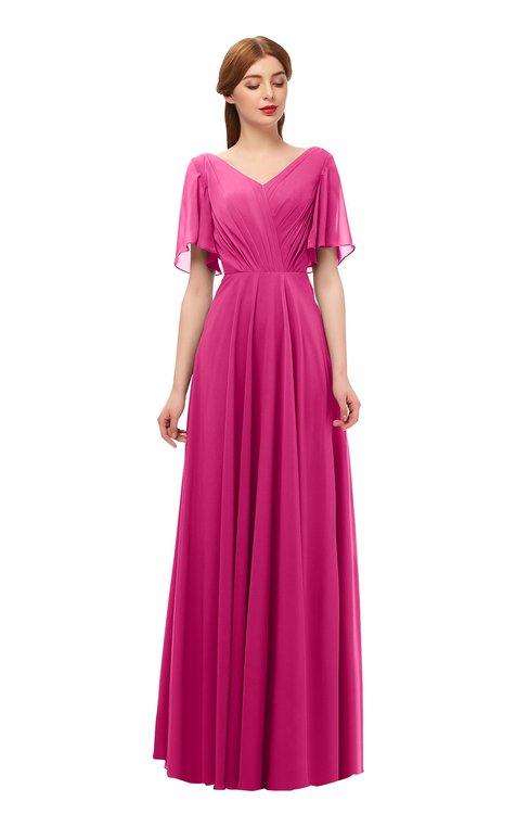 ColsBM Storm Cabaret Bridesmaid Dresses Lace up V-neck Short Sleeve Floor Length A-line Glamorous