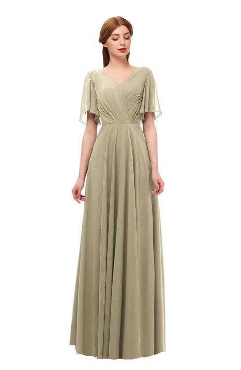 ColsBM Storm Candied Ginger Bridesmaid Dresses Lace up V-neck Short Sleeve Floor Length A-line Glamorous