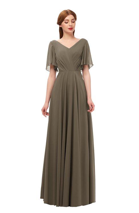 ColsBM Storm Carafe Brown Bridesmaid Dresses Lace up V-neck Short Sleeve Floor Length A-line Glamorous