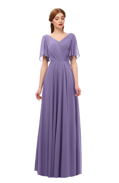 ColsBM Storm Chalk Violet Bridesmaid Dresses Lace up V-neck Short Sleeve Floor Length A-line Glamorous
