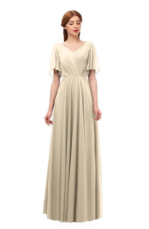 ColsBM Storm Champagne Bridesmaid Dresses Lace up V-neck Short Sleeve Floor Length A-line Glamorous