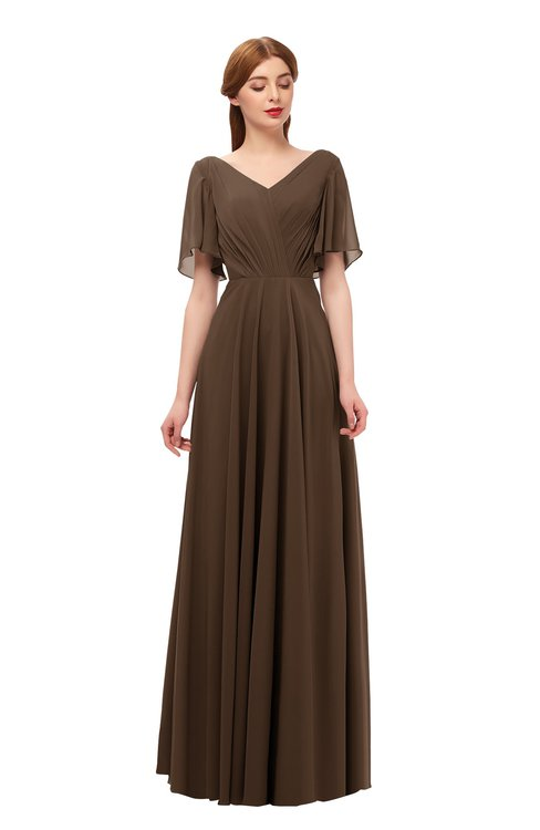 ColsBM Storm Chocolate Brown Bridesmaid Dresses Lace up V-neck Short Sleeve Floor Length A-line Glamorous