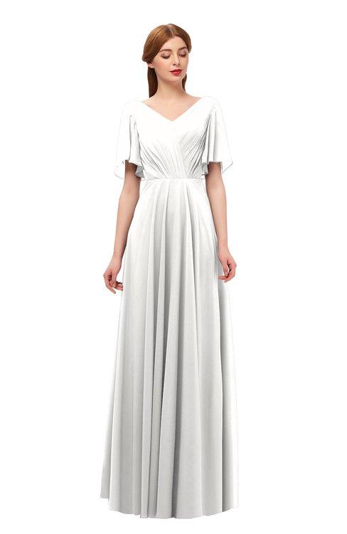 ColsBM Storm Cloud White Bridesmaid Dresses Lace up V-neck Short Sleeve Floor Length A-line Glamorous