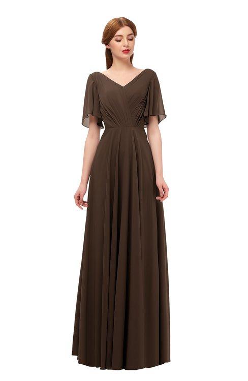 ColsBM Storm Copper Bridesmaid Dresses Lace up V-neck Short Sleeve Floor Length A-line Glamorous