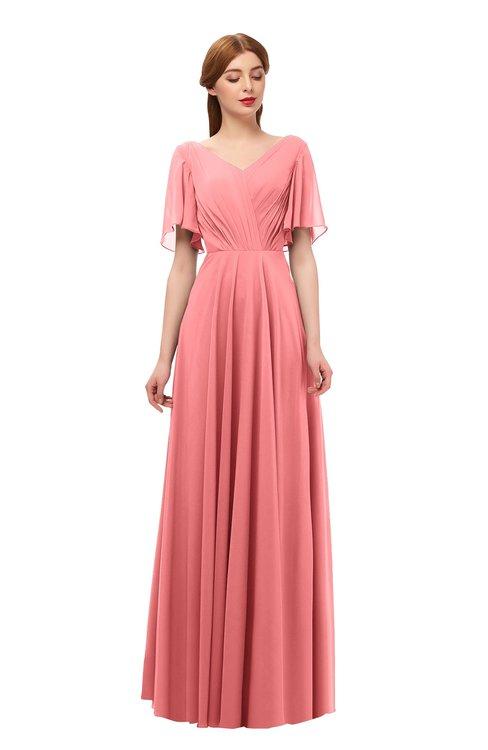 ColsBM Storm Coral Bridesmaid Dresses Lace up V-neck Short Sleeve Floor Length A-line Glamorous