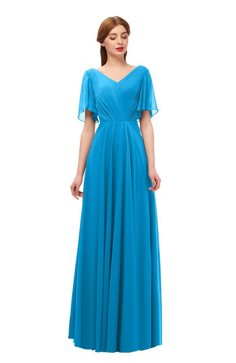 ColsBM Storm Cornflower Blue Bridesmaid Dresses Lace up V-neck Short Sleeve Floor Length A-line Glamorous