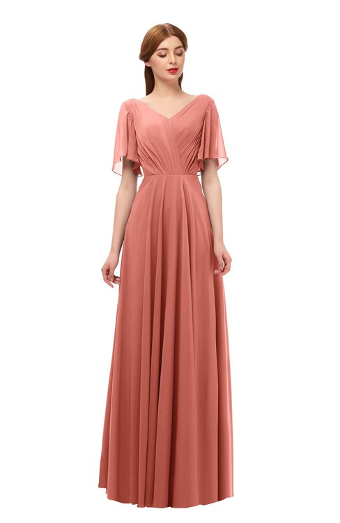 ColsBM Storm Crabapple Bridesmaid Dresses Lace up V-neck Short Sleeve Floor Length A-line Glamorous