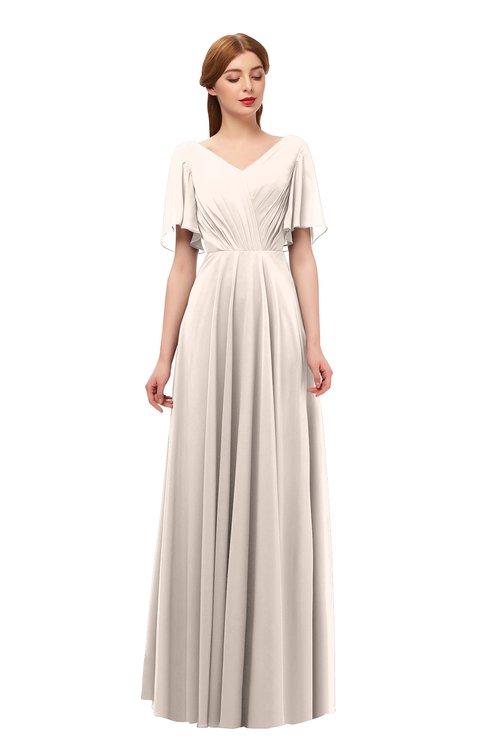 ColsBM Storm Cream Pink Bridesmaid Dresses Lace up V-neck Short Sleeve Floor Length A-line Glamorous