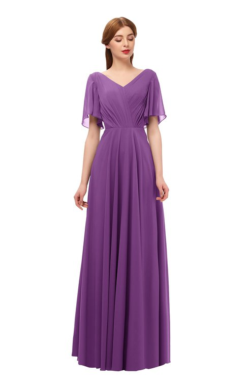 ColsBM Storm Dahlia Bridesmaid Dresses Lace up V-neck Short Sleeve Floor Length A-line Glamorous