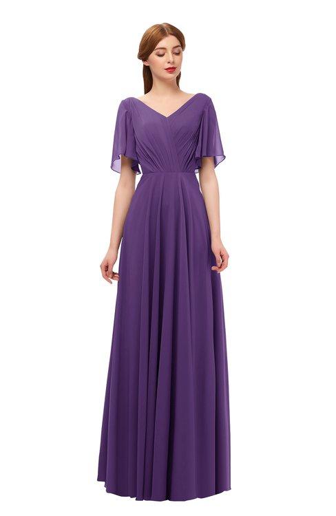 ColsBM Storm Dark Purple Bridesmaid Dresses Lace up V-neck Short Sleeve Floor Length A-line Glamorous
