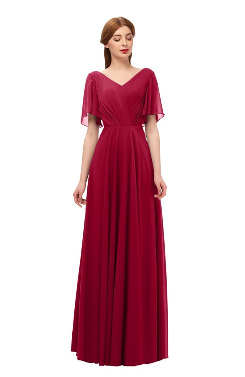 ColsBM Storm Dark Red Bridesmaid Dresses Lace up V-neck Short Sleeve Floor Length A-line Glamorous