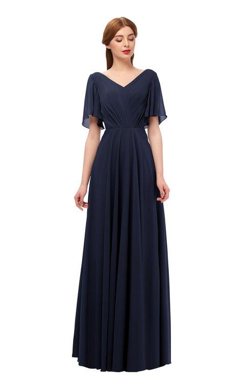 ColsBM Storm Dark Sapphire Bridesmaid Dresses Lace up V-neck Short Sleeve Floor Length A-line Glamorous