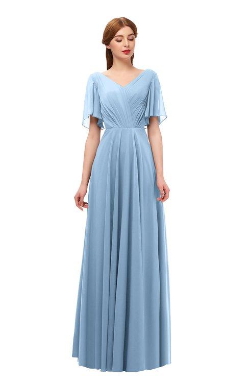 ColsBM Storm Dusty Blue Bridesmaid Dresses Lace up V-neck Short Sleeve Floor Length A-line Glamorous