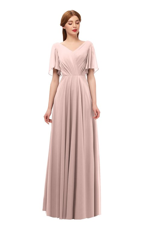 ColsBM Storm Dusty Rose Bridesmaid Dresses Lace up V-neck Short Sleeve Floor Length A-line Glamorous