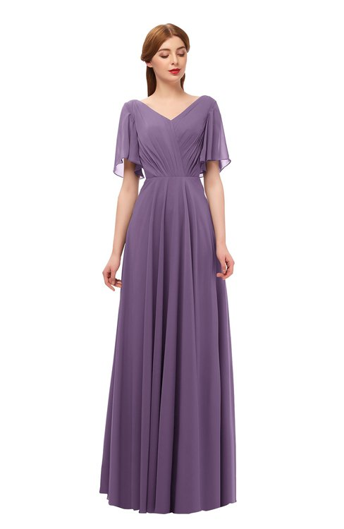 ColsBM Storm Eggplant Bridesmaid Dresses Lace up V-neck Short Sleeve Floor Length A-line Glamorous
