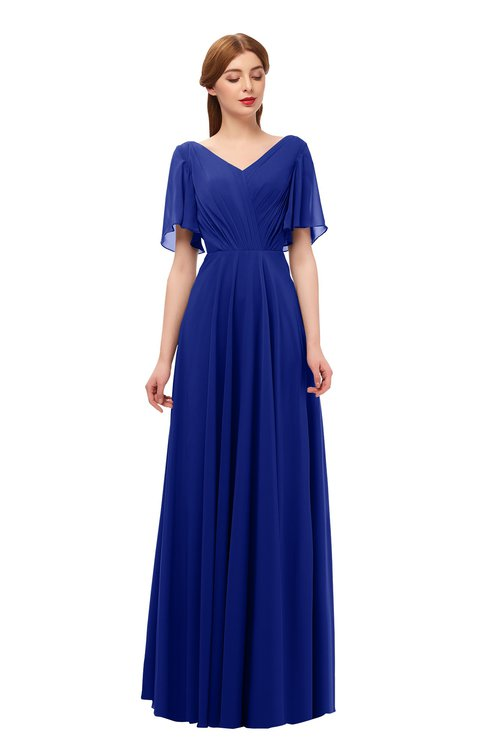 ColsBM Storm Electric Blue Bridesmaid Dresses Lace up V-neck Short Sleeve Floor Length A-line Glamorous