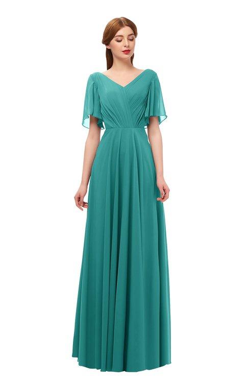 ColsBM Storm Emerald Green Bridesmaid Dresses Lace up V-neck Short Sleeve Floor Length A-line Glamorous