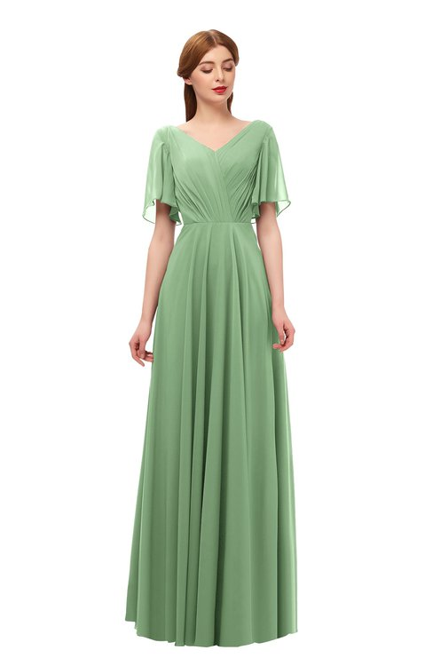 ColsBM Storm Fair Green Bridesmaid Dresses Lace up V-neck Short Sleeve Floor Length A-line Glamorous