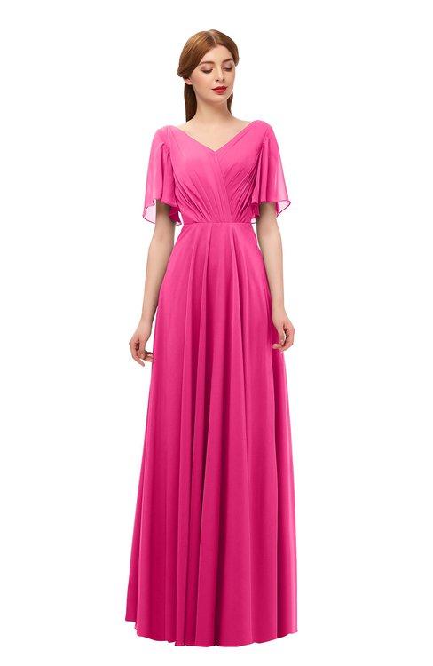 ColsBM Storm Fandango Pink Bridesmaid Dresses Lace up V-neck Short Sleeve Floor Length A-line Glamorous