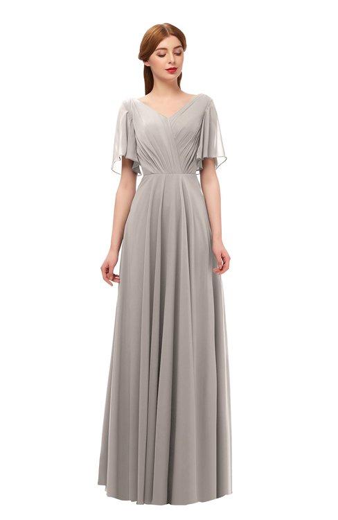 ColsBM Storm Fawn Bridesmaid Dresses Lace up V-neck Short Sleeve Floor Length A-line Glamorous