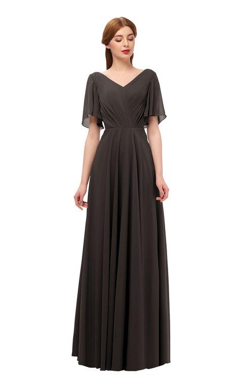ColsBM Storm Fudge Brown Bridesmaid Dresses Lace up V-neck Short Sleeve Floor Length A-line Glamorous