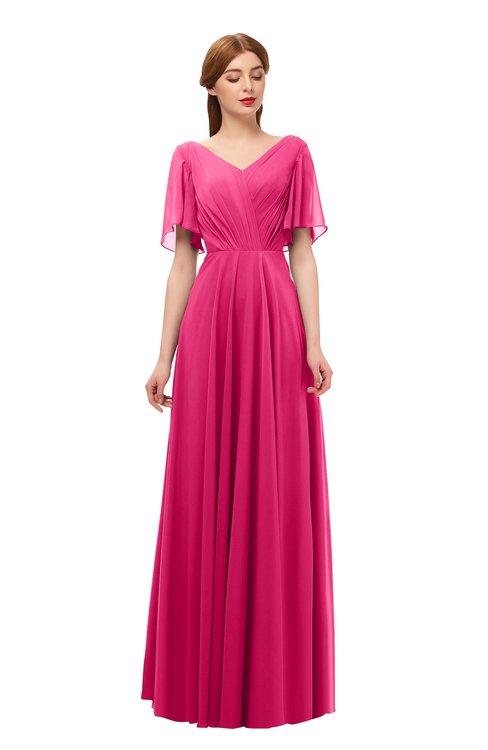 ColsBM Storm Fuschia Bridesmaid Dresses Lace up V-neck Short Sleeve Floor Length A-line Glamorous