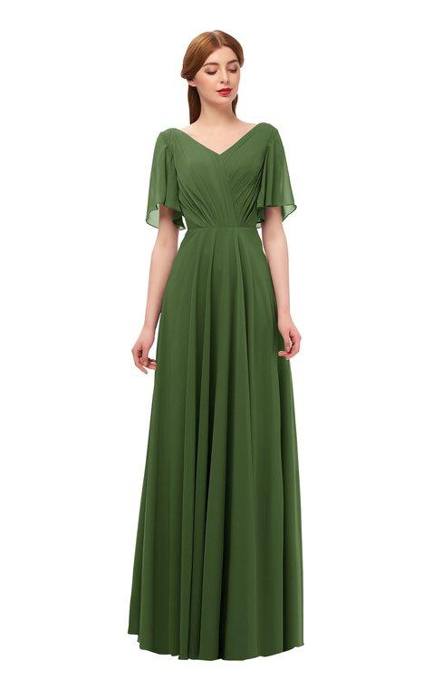 ColsBM Storm Garden Green Bridesmaid Dresses Lace up V-neck Short Sleeve Floor Length A-line Glamorous