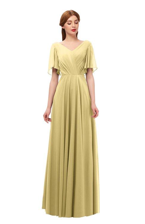 ColsBM Storm Gold Bridesmaid Dresses Lace up V-neck Short Sleeve Floor Length A-line Glamorous