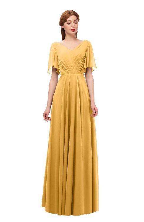 ColsBM Storm Golden Cream Bridesmaid Dresses Lace up V-neck Short Sleeve Floor Length A-line Glamorous