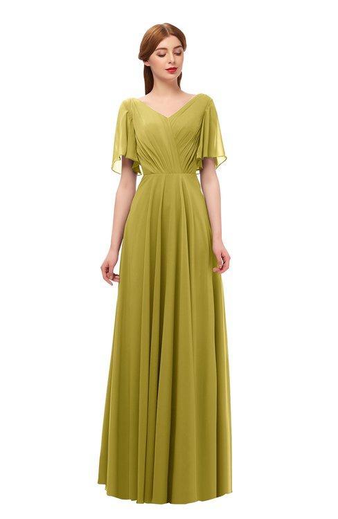 ColsBM Storm Golden Olive Bridesmaid Dresses Lace up V-neck Short Sleeve Floor Length A-line Glamorous