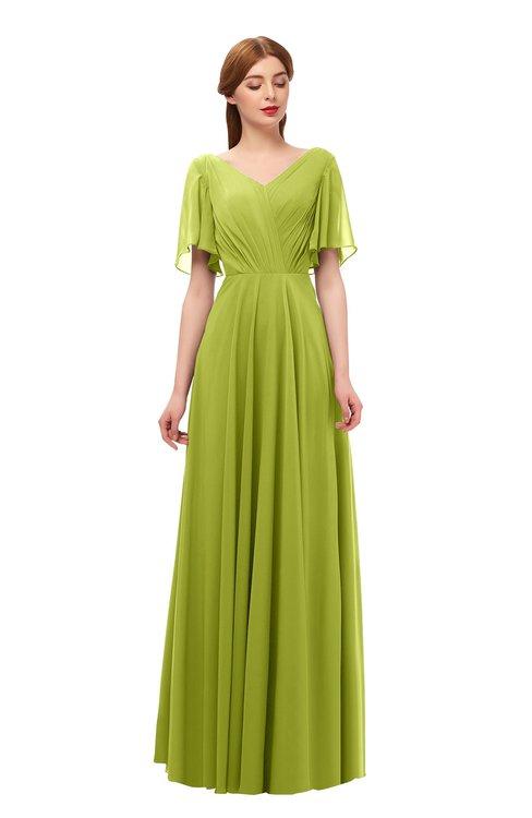 ColsBM Storm Green Oasis Bridesmaid Dresses Lace up V-neck Short Sleeve Floor Length A-line Glamorous
