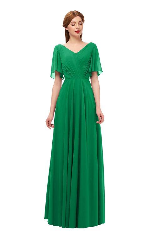 ColsBM Storm Green Bridesmaid Dresses Lace up V-neck Short Sleeve Floor Length A-line Glamorous