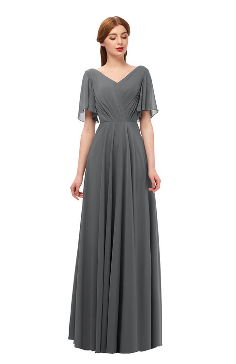 ColsBM Storm Grey Bridesmaid Dresses Lace up V-neck Short Sleeve Floor Length A-line Glamorous