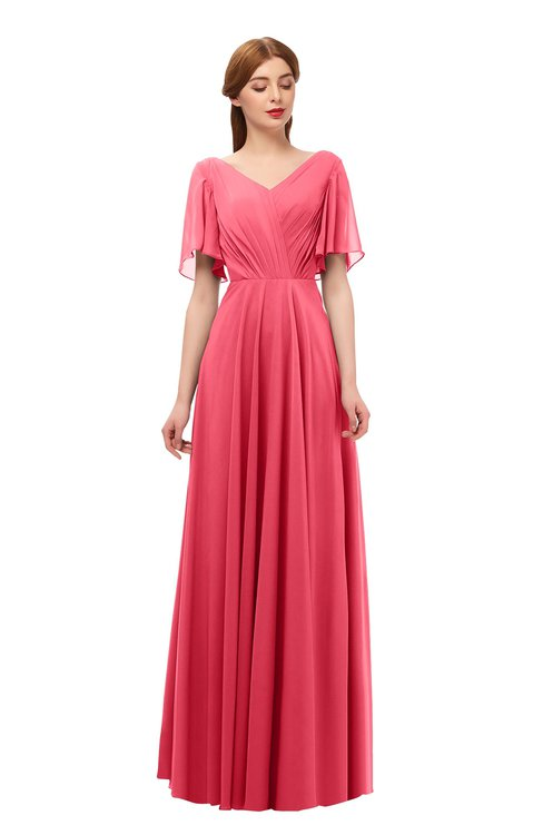 ColsBM Storm Guava Bridesmaid Dresses Lace up V-neck Short Sleeve Floor Length A-line Glamorous