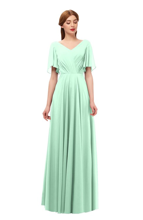 ColsBM Storm Honeydew Bridesmaid Dresses Lace up V-neck Short Sleeve Floor Length A-line Glamorous