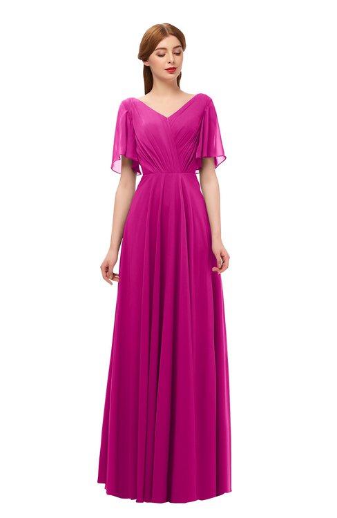 ColsBM Storm Hot Pink Bridesmaid Dresses Lace up V-neck Short Sleeve Floor Length A-line Glamorous