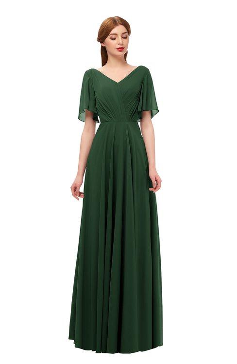 ColsBM Storm Hunter Green Bridesmaid Dresses Lace up V-neck Short Sleeve Floor Length A-line Glamorous