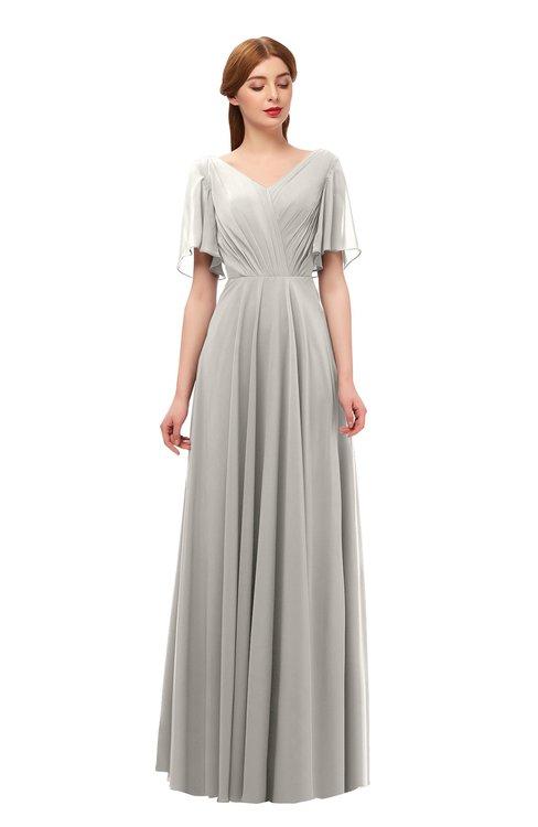 ColsBM Storm Hushed Violet Bridesmaid Dresses Lace up V-neck Short Sleeve Floor Length A-line Glamorous
